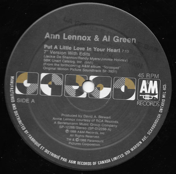 "Ann Lennox & Al Green ‎– Put A Little Love In Your Heart -1988-Soul, Vocal, Synth-pop (Vinyl, 12"", 45 RPM ) NEW SEALED"