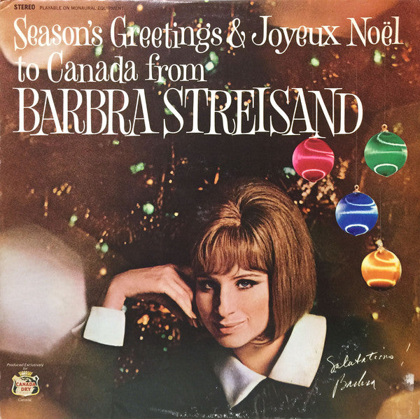 Barbra Streisand ... And Doris Day, André Kostelanetz, Jim Nabors ‎– Season's Greetings & Joyeux Noel To Canada From Barbra Streisand...And Friends - Christmas (clearance vinyl)