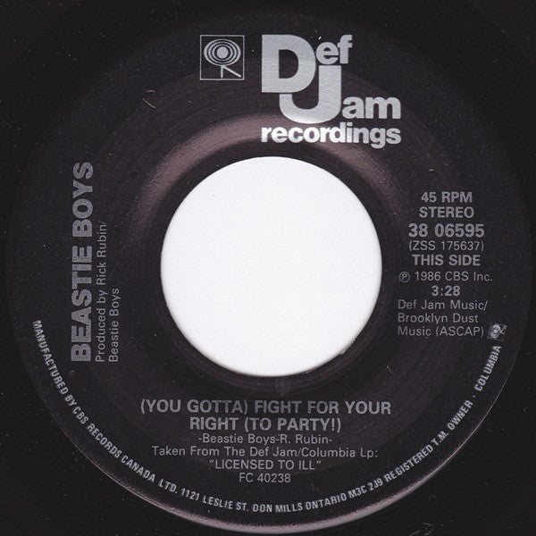 "Beastie Boys ‎– (You Gotta) Fight For Your Right (To Party!) - 1986- Pop Rap -Vinyl, 7"", 45 RPM, Single"