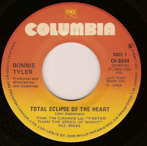 "Bonnie Tyler ‎– Total Eclipse Of The Heart / Take Me Back -1983- Vinyl, 7"", Single (45 RPM )"