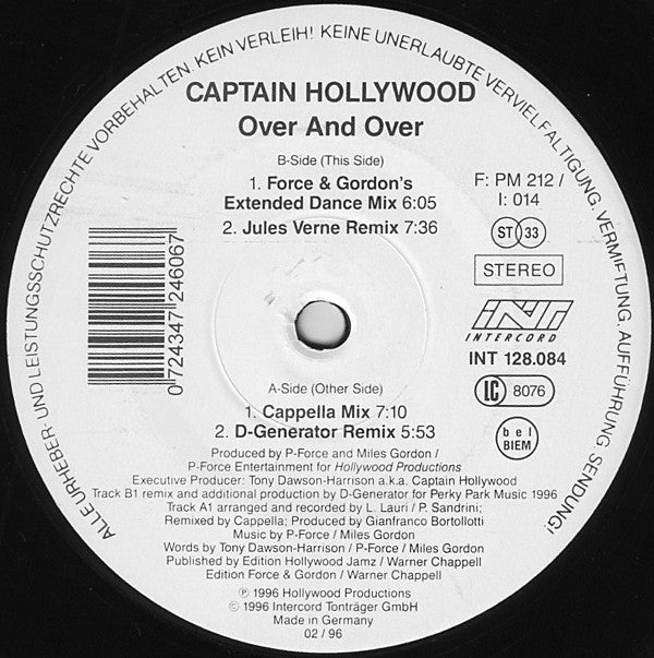 Captain Hollywood ‎– Over And Over - Trance, Euro House - 1996 (vinyl)