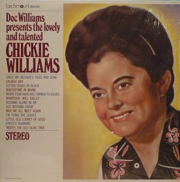 Chickie Williams ‎– Doc Williams Presents The Lovely And Talented Chickie Williams -1964- Folk, Country (Rare Vinyl)