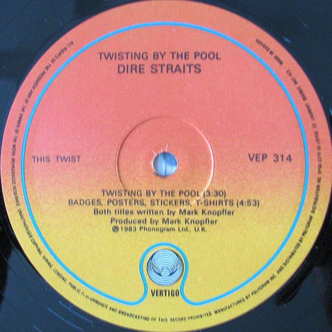 "Dire Straits ‎– Twisting By The Pool -1983-Rock- Vinyl, 12"", EP (No Cover) CLEARANCE"