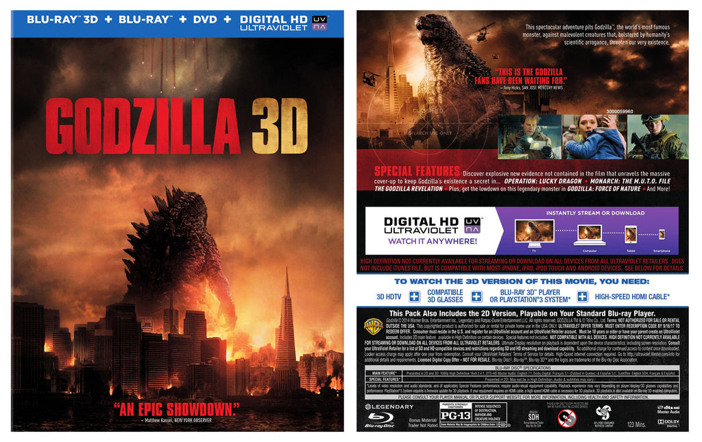 Godzilla 3D [Blu-ray 3D + Blu-ray + DVD + Digital HD] New / sealed