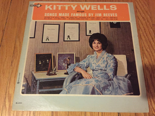Kitty Wells ‎– Songs Made Famous By Jim Reeves -1966- Folk, World, & Country (vinyl)