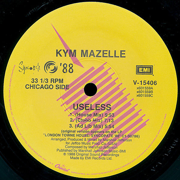 "Kym Mazelle ‎– Useless -1988-  House, Garage House - Vinyl, 12"", 33 ⅓ RPM"