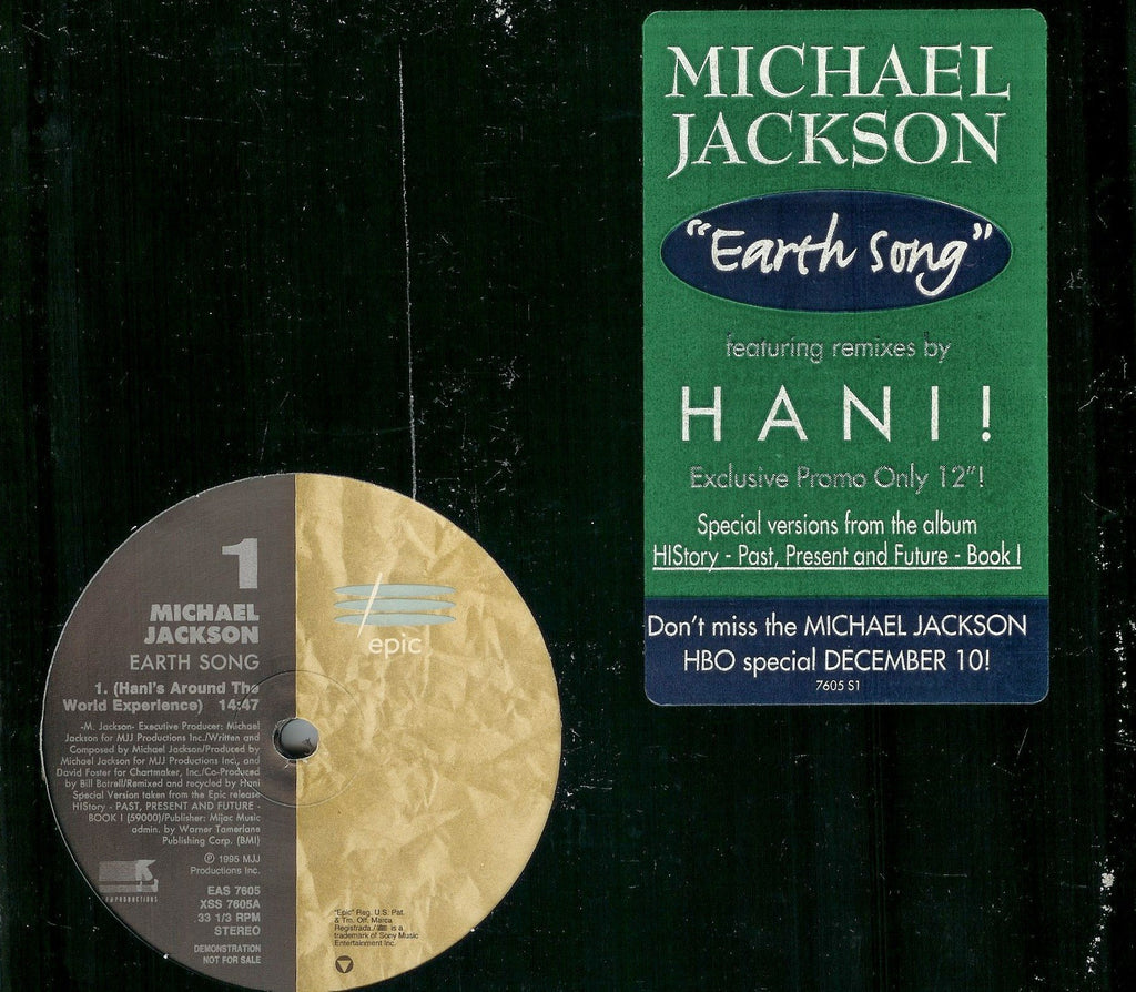 "Michael Jackson ‎– Earth Song - 1995- House, Downtempo ( Vinyl, 12"", Promo, Stereo, 33 ⅓ RPM  )"