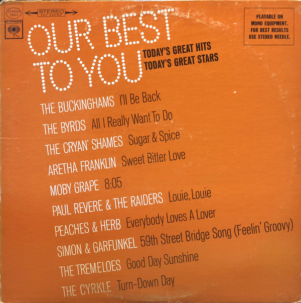 Our Best To You: Today's Great Hits... Today's Great Stars - 1967-Psychedelic Rock, Pop Rock, Soul (vinyl)