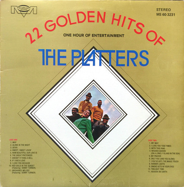 The Platters ‎– 22 Golden Hits Of The Platters - One Hour Of Entertainment - Funk, Rhythm & Blues (vinyl)