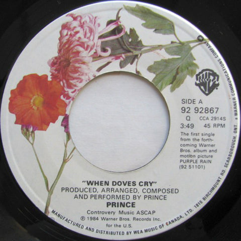 "Prince ‎– When Doves Cry / 17 Days- 1984-Synth-pop, Funk - Vinyl, 7"", 45 RPM, Single"
