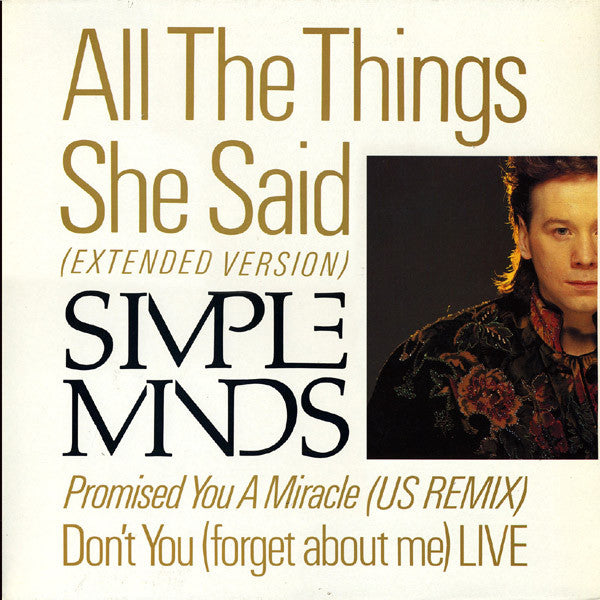 "Simple Minds ‎– All The Things She Said -1986- Synth-pop ( 12"" Vinyl )"