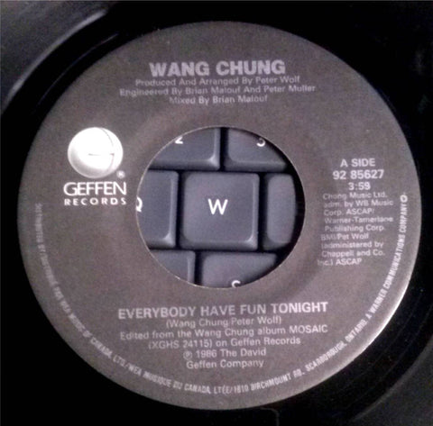 "Wang Chung ‎– Everybody Have Fun Tonight -1986 Dance pop ( Vinyl, 7"", 45 RPM, Single )"