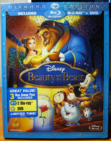Beauty and the Beast (3-Disc BD/DVD Combo) [Blu-ray] New / Sealed