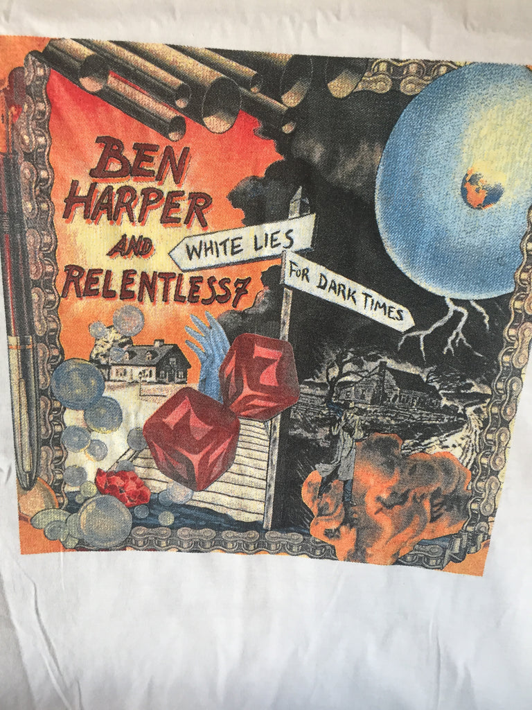 BEN HARPER- & RELENTLESS - WHITE LIES for DARK TIMES TOUR - T shirt - (white) XL.