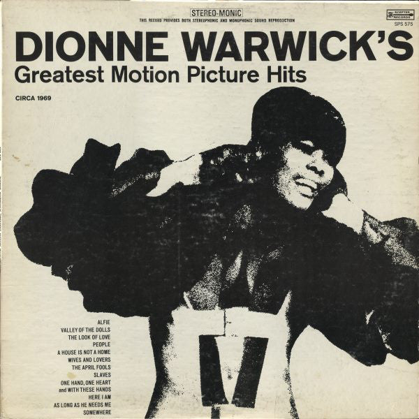 Dionne Warwick ‎– Greatest Motion Picture Hits - 1969-Funk / Soul (vinyl)