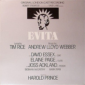 Evita: Original London Cast Recording -Tim Rice, Andrew Lloyd Webber, David Essex, Elaine Paige, Joss Ackland & Harold Prince ‎- (vinyl)