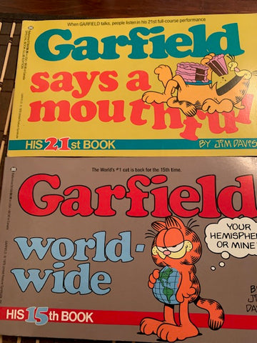 2 Garfield Paperbacks- Says a Mouthful / World Wide -Great Shape