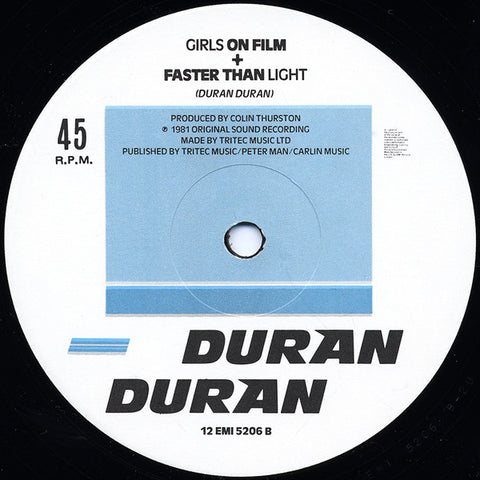 Duran Duran 1981 Girls on Film & Faster Than Light - (12 Inch 45 RPM Vinyl)