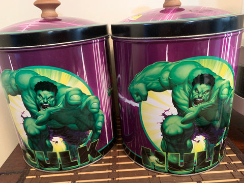 2 Hulk Super Hero Tins ( for Lego or small parts storage) new-