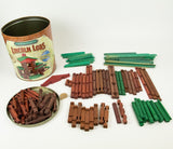 Original Lincoln Logs Commemorative Edition All Wood Metal Tin *Incomplete*