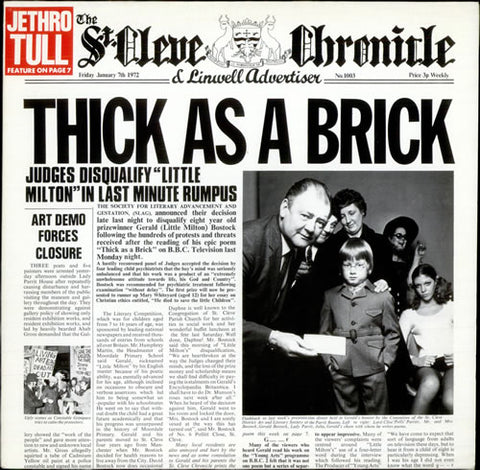 Jethro Tull ‎– Thick As A Brick- 1972 Prog Rock (vinyl)