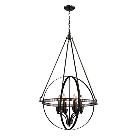 ELK Lighting 10393/6 Hemispheres 6-Light Pendant Chandelier, Oil Rubbed Bronze