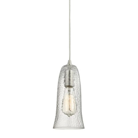 ELK Lighting 10431/1CLR Hammered Glass Pendant, Satin Nickel with Hammered Clear Glass