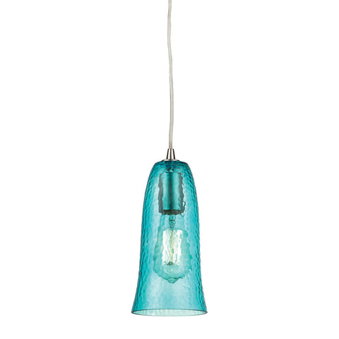 ELK Lighting 10431/1HAQ Hammered Glass Pendant, Satin Nickel with Hammered Aqua Glass