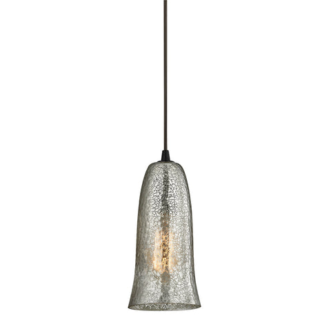 ELK Lighting 10431/1HME Hammered Glass Pendant, Oil Rubbed Bronze with Hammered Mercury Glass