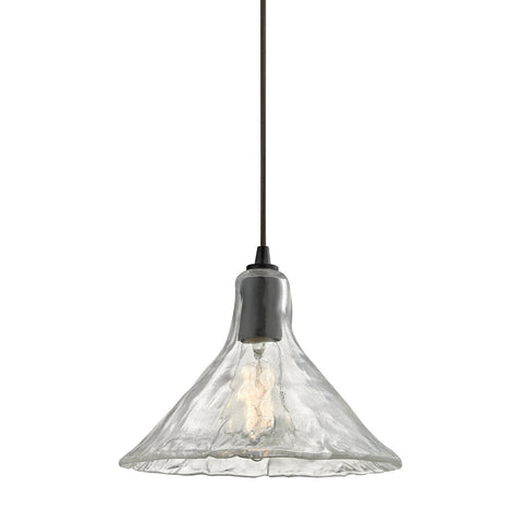 ELK Lighting 10435/1 Hand Formed Glass Pendant, Oil Rubbed Bronze