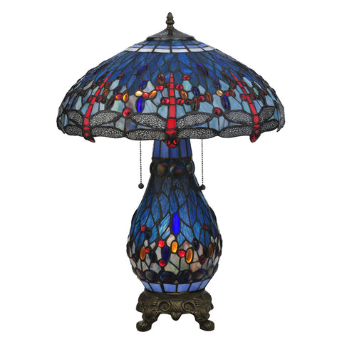 Meyda Tiffany 118840 Tiffany Hanginghead Dragonfly 2-Light with Lighted Base Table Lamp