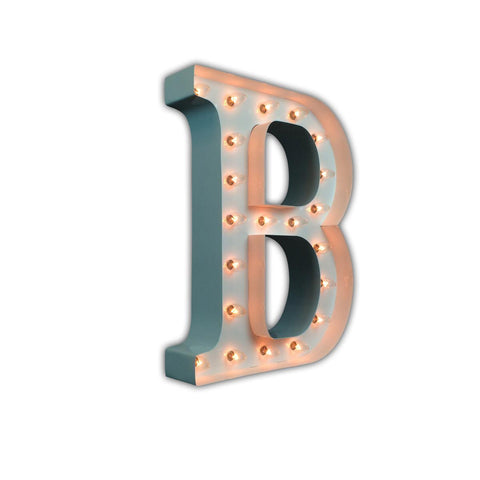 "Vintage Marquee 24"" Letter B (Glossy White)"