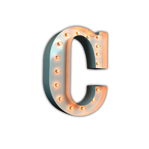 "Vintage Marquee 24"" Letter C (Glossy White)"
