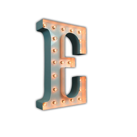 "Vintage Marquee 24"" Letter E (Glossy White)"