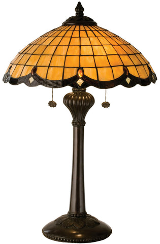 Meyda Tiffany 2-Light Elan Table Lamp, Honey Wheat Art Glass w/ Rootbeer Scallop