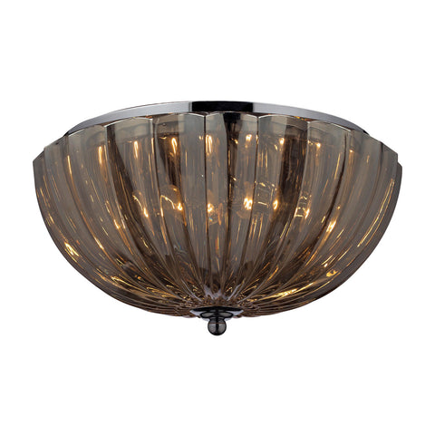 ELK Lighting 31251/2 Light Crystal Flush Mount Ceiling Light, Amber Teak Plated Crystal