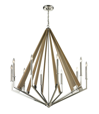 ELK Lighting 31476/10 Madera 10-Light Chandelier, Polished Nickel