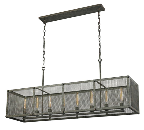ELK Lighting 31512/8 Perry 8-Light Island, Malted Rust with Wire Mesh Shade