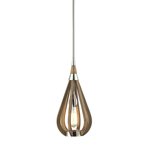 ELK Lighting 31554/1 Janette 1-Light Chestnut Pendant, Polished Nickel