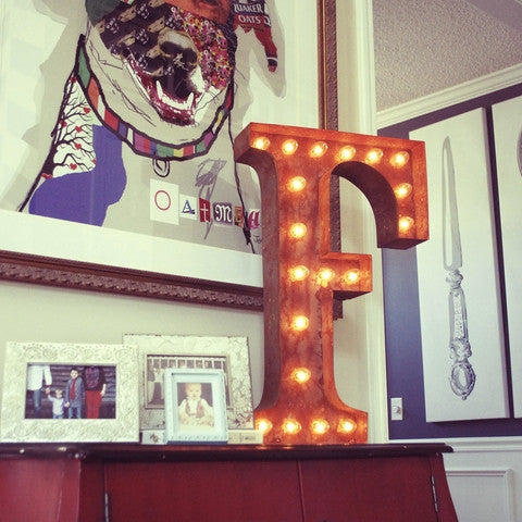 "Vintage Marquee 24"" Letter F"
