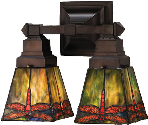 Meyda Tiffany 48188 2-Light Prairie Dragonfly Wall Sconce