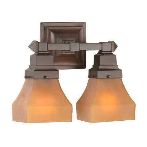 Meyda Tiffany 50361 Bungalow 2-Light Wall Sconce, Amber Etched