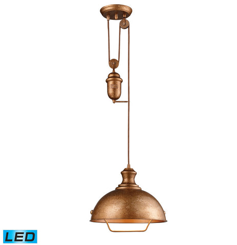 ELK Lighting 65061-1-LED Farmhouse 1-Light LED Pendant, Bellwether Copper