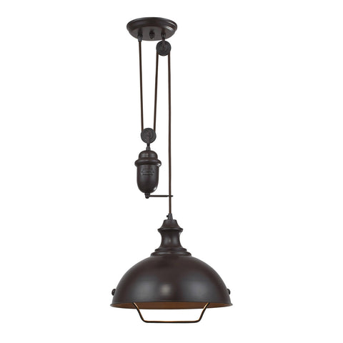 ELK Lighting 65071-1 Farmhouse 1-Light Bowl Pendant, Oiled Bronze