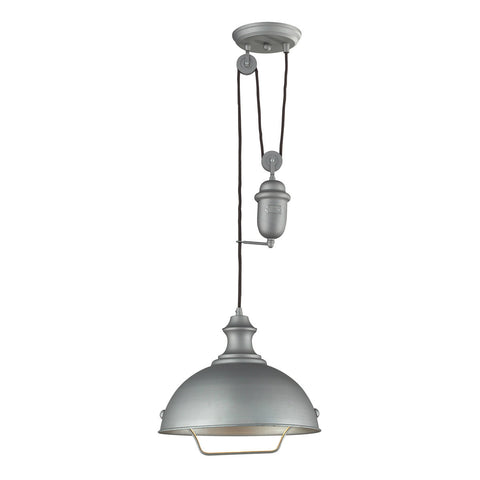 ELK Lighting 65081-1 Farmhouse 1-Light Bowl Pendant, Aged Pewter