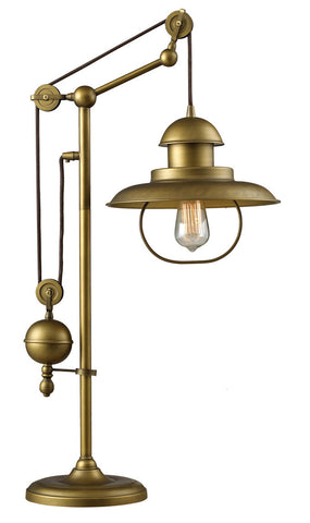 ELK Lighting 65100-1 Farmhouse 1-Light Table Lamp, Antique Brass
