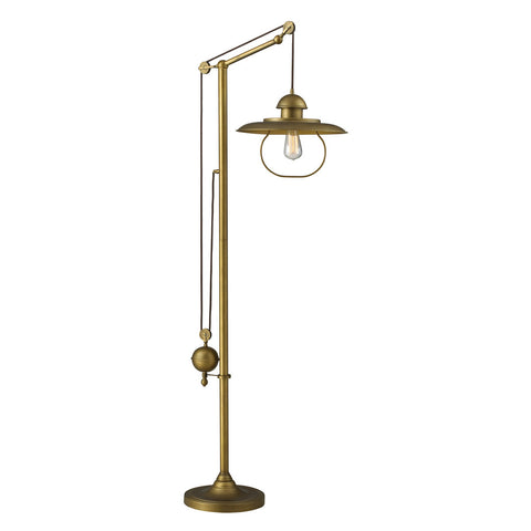 ELK Lighting 65101-1 1-Light Farmhouse Floor Lamp, Antique Brass