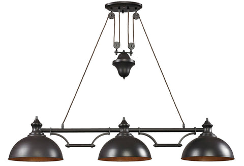 ELK Lighting 65151-3 3-Light Farmhouse Island Light, Oiled Bronze