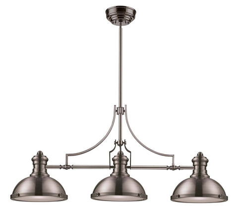 ELK Lighting 66125-3-LED Chadwick 3-Light Billiard/Island, Satin Nickel