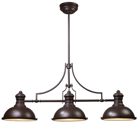 ELK Lighting 66135-3 3-Light Chadwick Billiard Island Light, Oiled Bronze